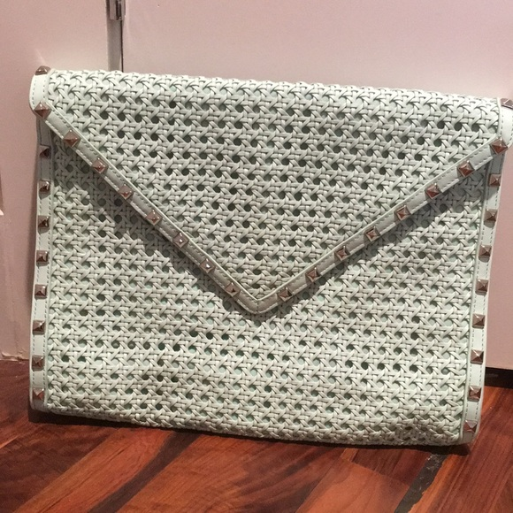 Rebecca Minkoff Handbags - Rebecca Minkoff Mint Studded Envelope Clutch